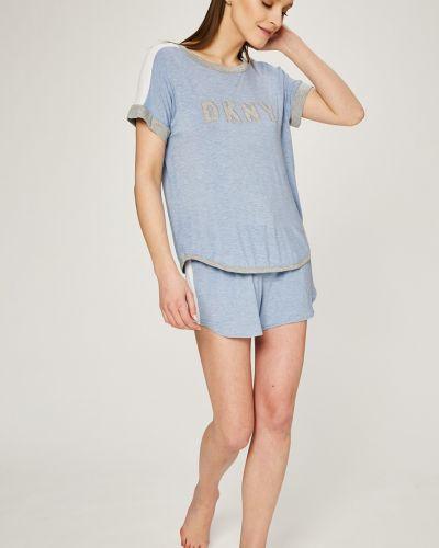 Голубая рубашка с поясом Dkny