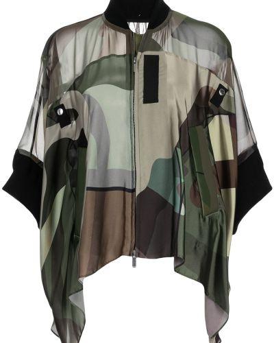 Зеленый пиджак с воротником Sacai
