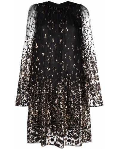 Платье с пайетками - черное Elie Saab