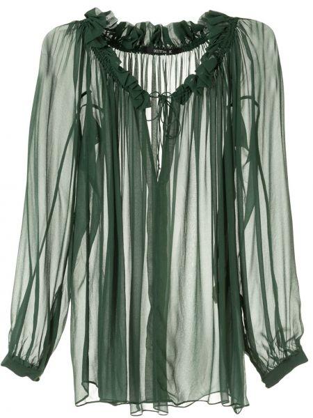 Свободная блузка с длинным рукавом с оборками с декольте с манжетами Kitx