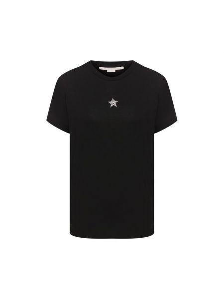 Прямая со звездами черная футболка с вышивкой Stella Mccartney