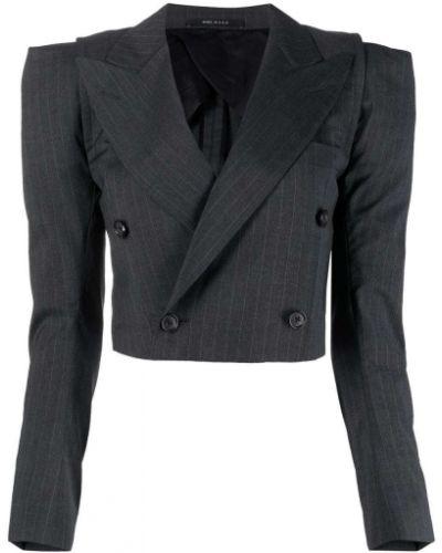 Шерстяной серый удлиненный пиджак двубортный R13