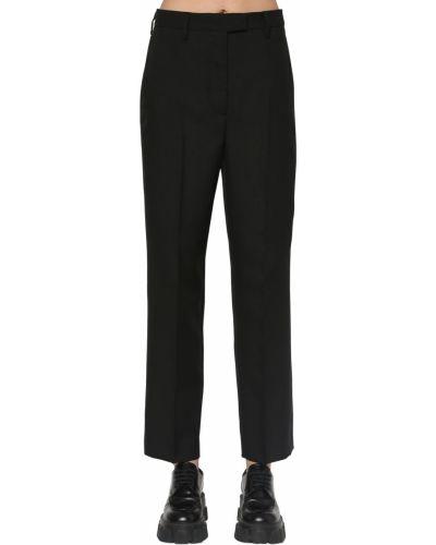 Прямые черные брюки с карманами Prada