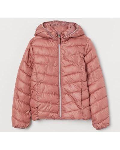Утепленная розовая куртка на молнии H&m