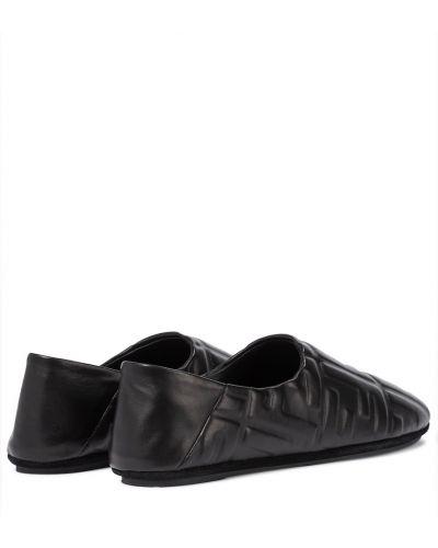 Кожаные балетки - черные Fendi