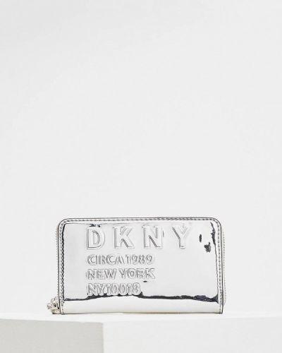 Серый кошелек лаковый Dkny