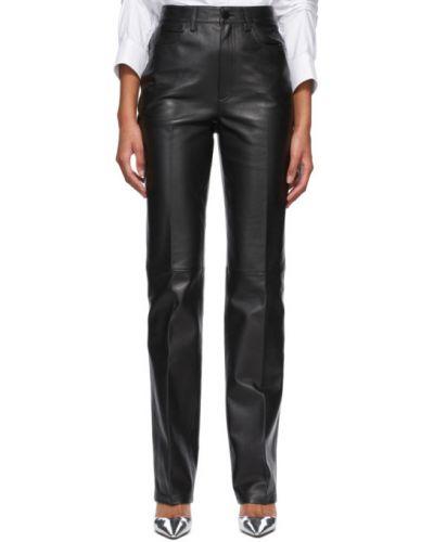 Czarne spodnie skorzane z paskiem Alexander Wang