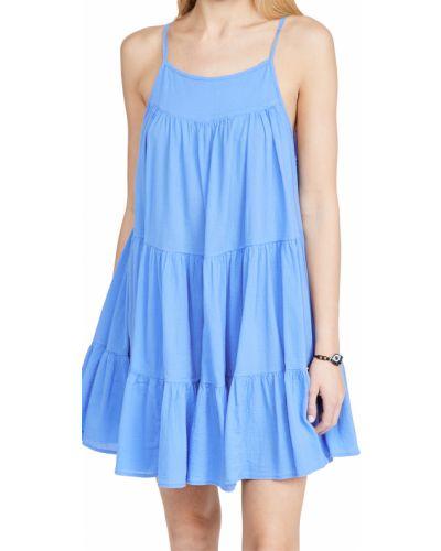 Хлопковое с ремешком синее платье 9seed