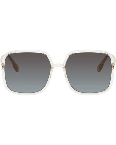 Желтые солнцезащитные очки квадратные прозрачные Dior