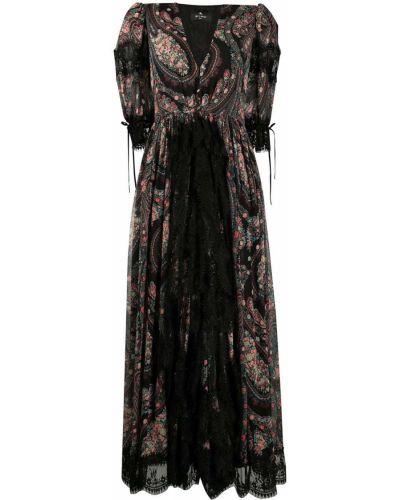 Ажурное шелковое черное платье мини Etro