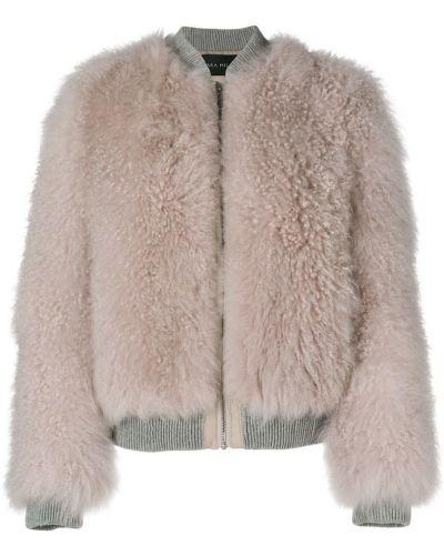 Кожаная куртка розовая на молнии Cara Mila