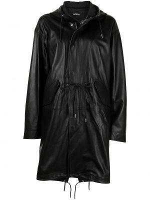 Кожаное черное пальто классическое с капюшоном Goen.j