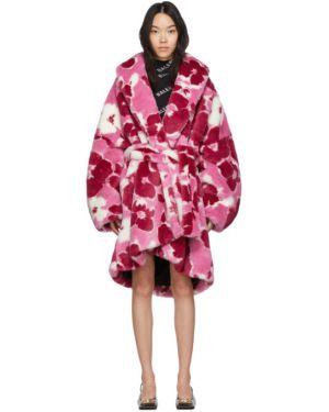 Длинное пальто розовое без воротника Balenciaga