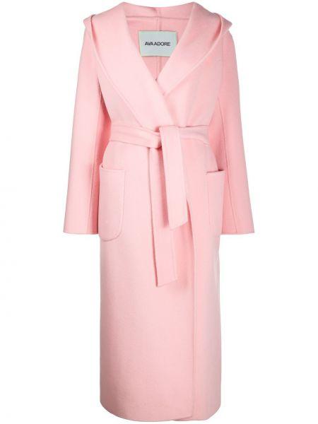 Розовое шерстяное длинное пальто с капюшоном Ava Adore
