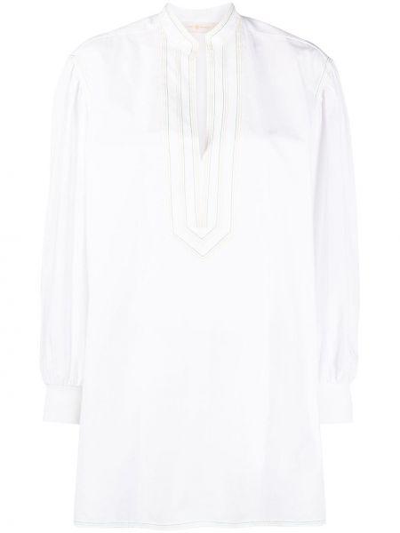 Biały bawełna z rękawami bawełna tunika Tory Burch