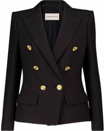 Черный пиджак твидовый двубортный Alexandre Vauthier