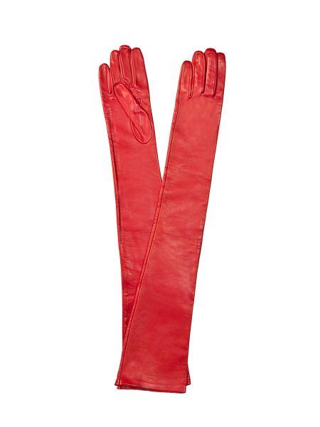 Красные шелковые перчатки длинные с декоративной отделкой Sermoneta Gloves