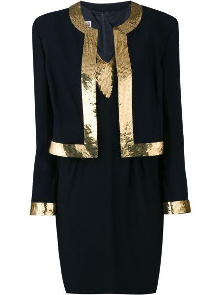 Złoty czarny garnitur z długimi rękawami Moschino Pre-owned