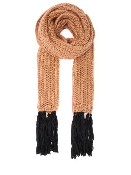 Бежевый вязаный шарф вязаный из мохера с бахромой Chapurin