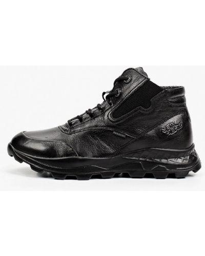 Кожаные высокие кроссовки - черные Nexpero