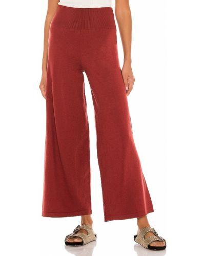 Czerwony włókienniczy spodnie palazzo w połowie kolana Susana Monaco