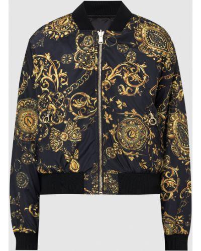 Джинсовая куртка с принтом - черная Versace Jeans Couture