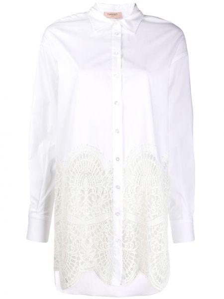 Koszula bawełniana koronkowa z długimi rękawami Twin Set