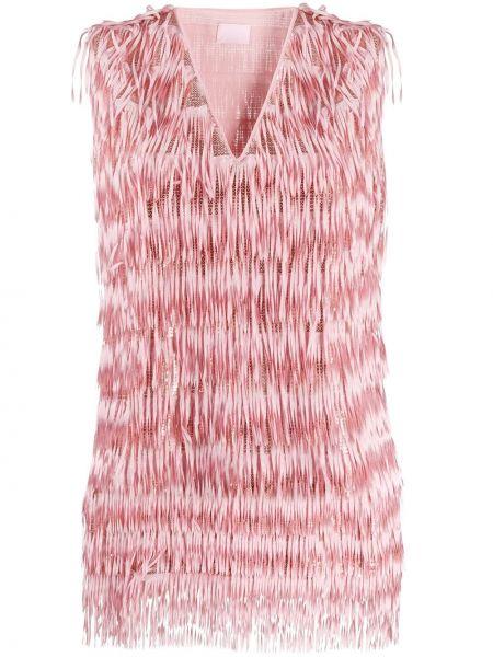 Różowa bluzka z frędzlami bez rękawów Giamba
