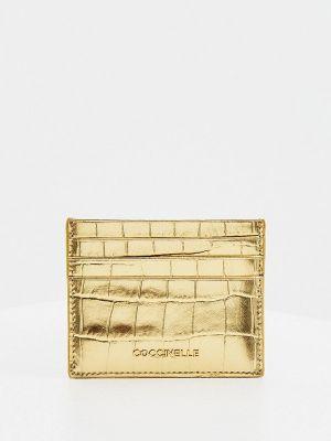Кожаные футляр для очков золотые Coccinelle