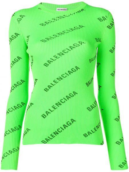 Зеленый длинный свитер с вырезом круглый Balenciaga