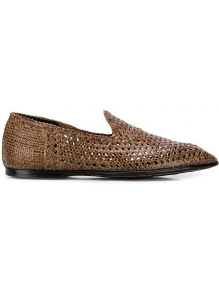 Кожаные слиперы на каблуке без застежки Dolce & Gabbana