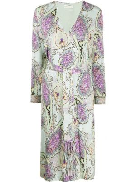 Платье миди с бахромой с V-образным вырезом Etro