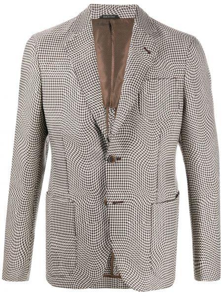 С рукавами шерстяной однобортный удлиненный пиджак Giorgio Armani