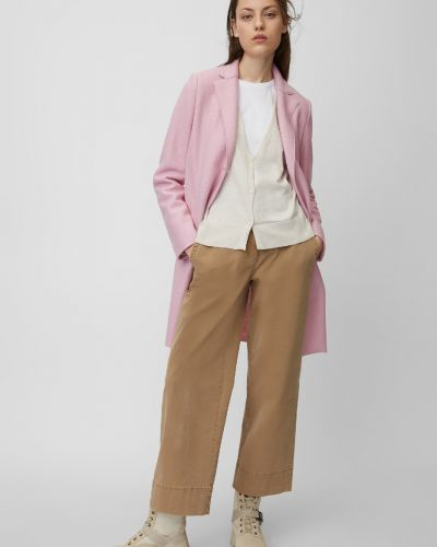 С рукавами однобортное шерстяное розовое пальто классическое Marc O`polo