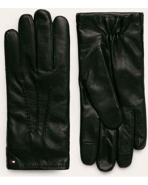 Skórzany rękawiczki prążkowany wełniany Tommy Hilfiger