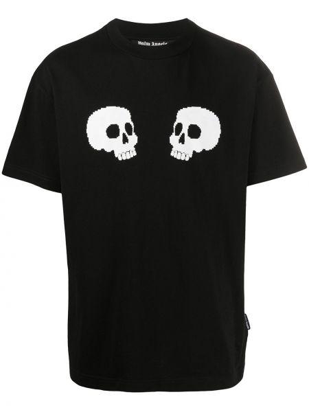 Codziennie bawełna prosto czarny koszula krótkie z krótkim rękawem Palm Angels