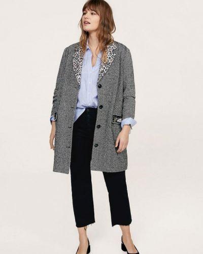 Серое пальто весеннее Violeta By Mango