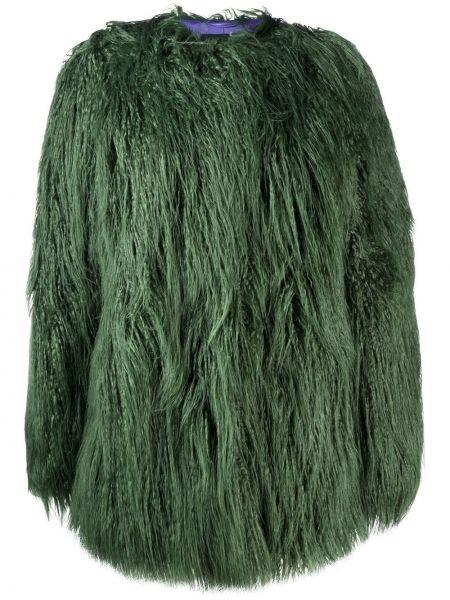 Zielony płaszcz z wiskozy z długimi rękawami Pinko