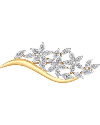 Серебряная брошь с камнями из золота Sokolov