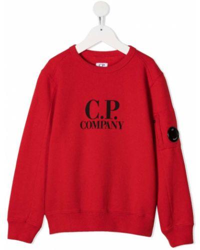 С рукавами красная хлопковая толстовка с вырезом Cp Company Kids