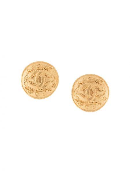 Kolczyki ze sztyftem okrągły pozłacany złoto wytłoczony Chanel Pre-owned