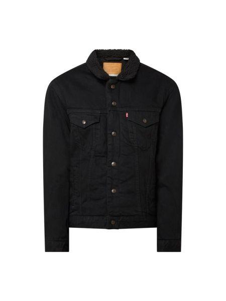 Bawełna czarny kurtka jeansowa z mankietami z kołnierzem Levi's