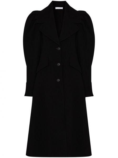 С рукавами черное шерстяное пальто Jw Anderson