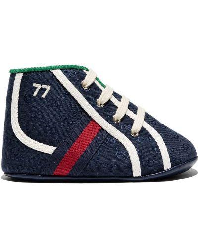 Niebieskie sneakersy skorzane Gucci Kids