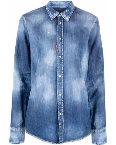 Кожаная джинсовая рубашка - синяя Dsquared2