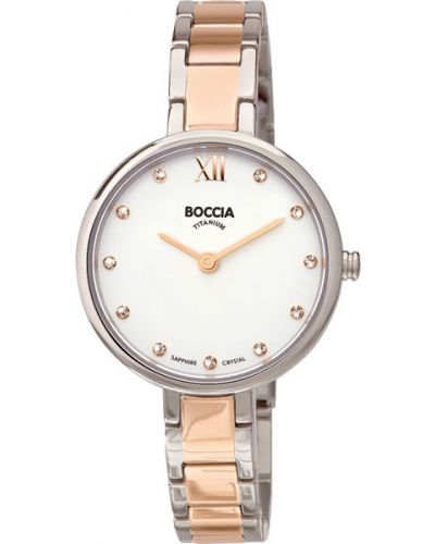 Кварцевые часы водонепроницаемые с камнями Boccia Titanium