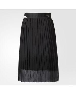 Плиссированная юбка шелковая на молнии Adidas