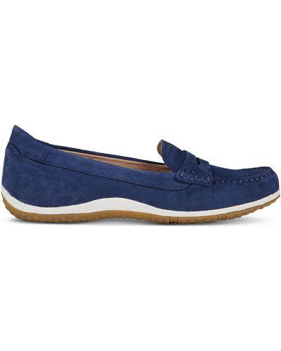 Мокасины кожаные синие Geox