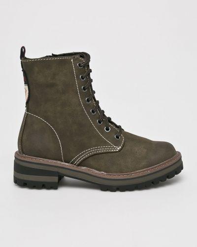 Кожаные сапоги на шнуровке текстильные S.oliver