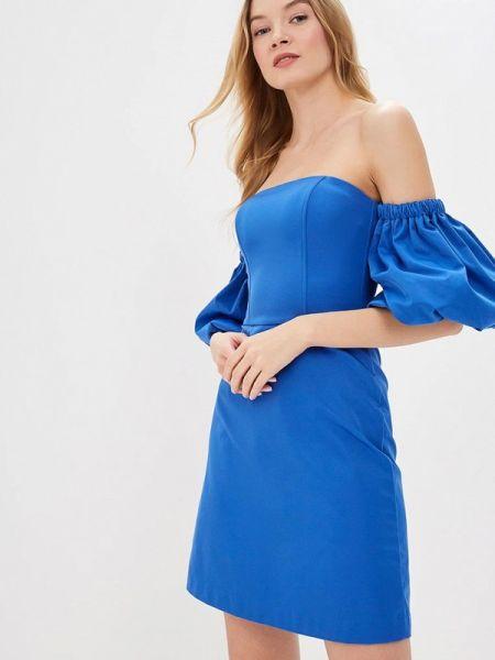 Вечернее платье осеннее синее Ruxara